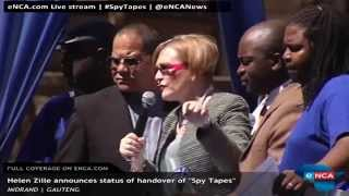 "Helen Zille to announce the status  of the ""spy tapes"" handover"