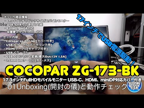 Cocopar Zg-173-bk 17.3インチFullHDモバイルモニター USB-C、HDMI、miniDP対応カバー付き 01Unboxing(開封の儀)と動作チェック