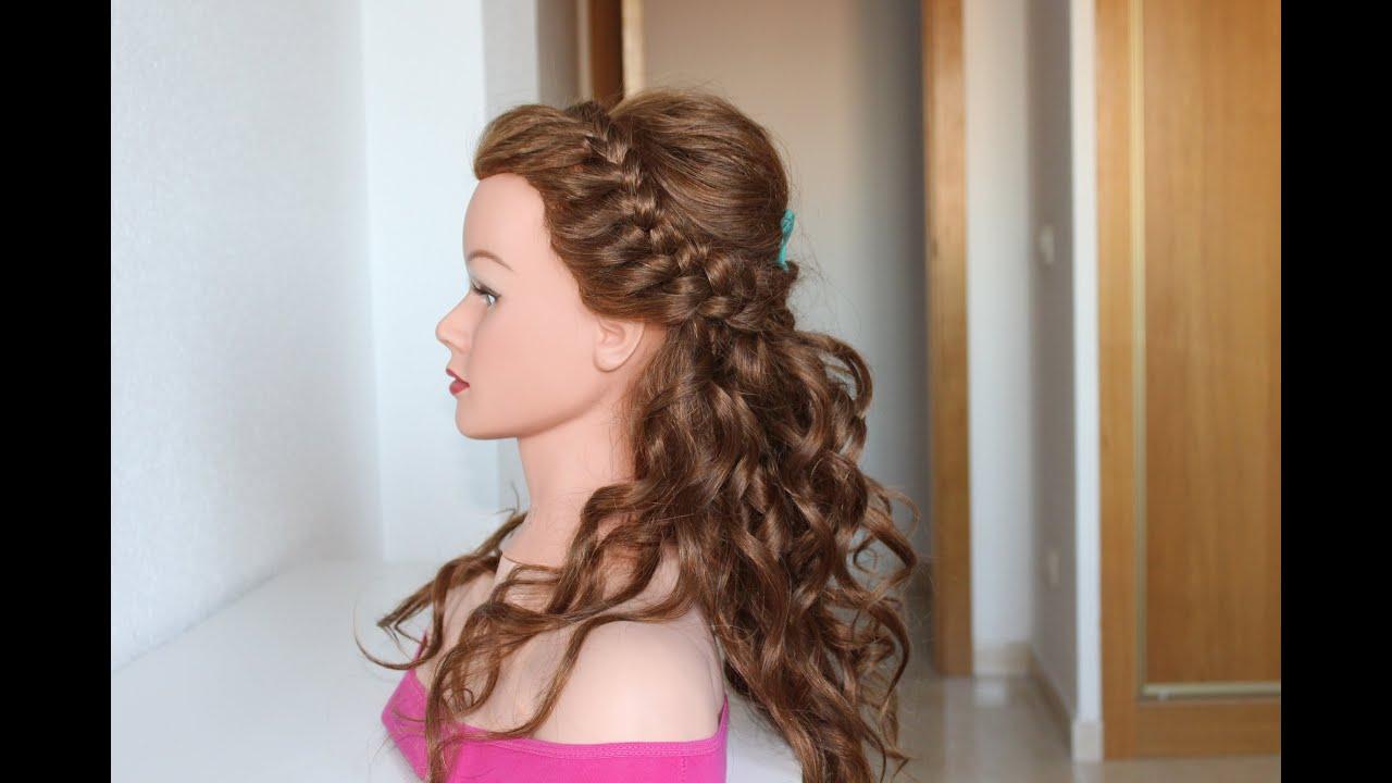 Peinados semi recogido con rizos