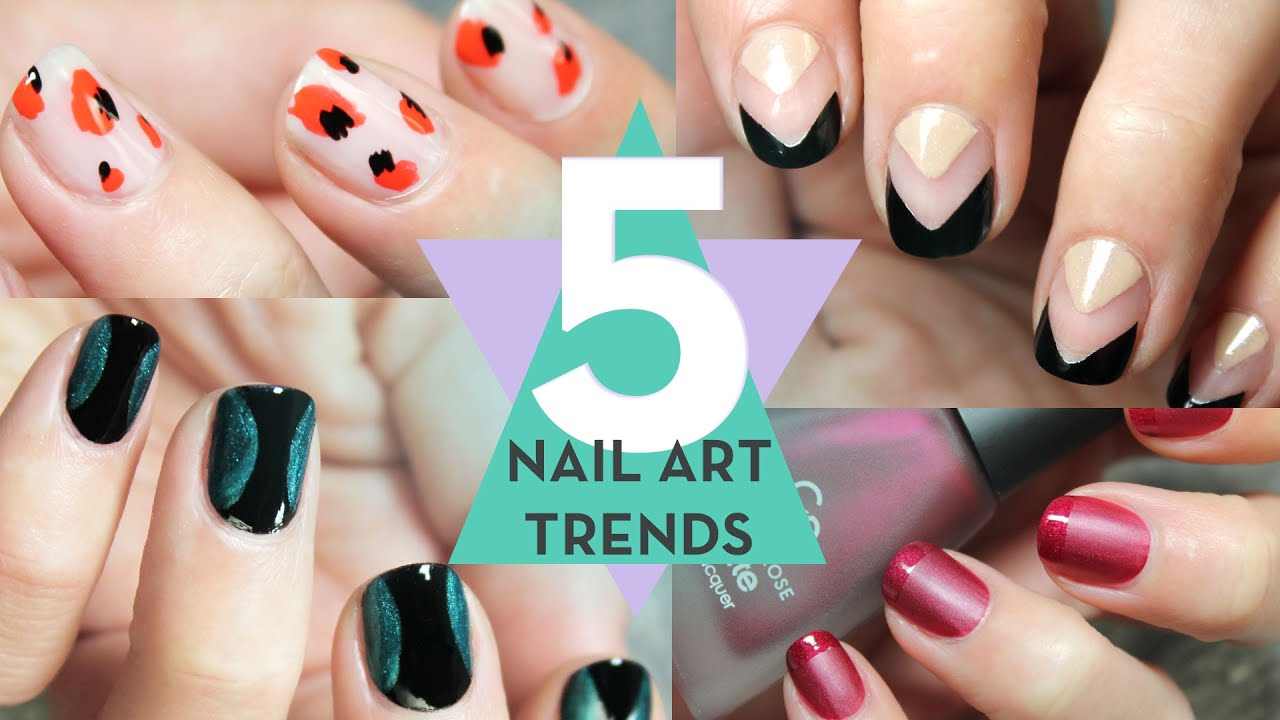 5 NAIL ART TRENDS STEP BY STEP - YouTube