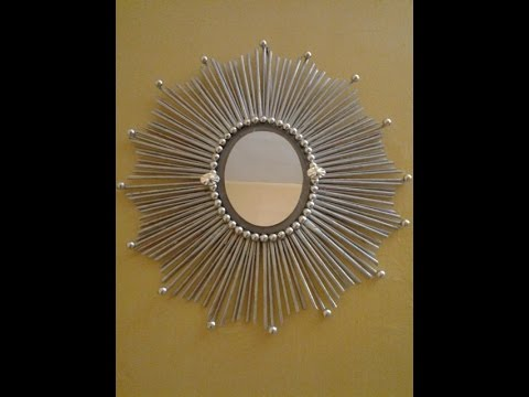 Best out of waste paper and mirror wall decor 1 youtube for Waste paper wall hanging