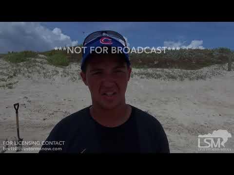 8-24-2017 Port Aransas, Tx Hurricane Harvey, Mandatory evacuations beach sandbagging