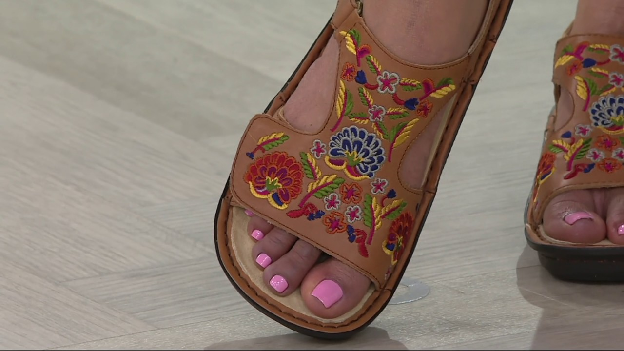 Alegria Leather Embroidered Sandals