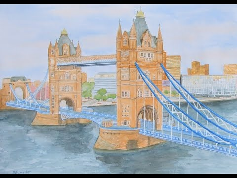 tower bridge london watercolor aquarell speed painting youtube
