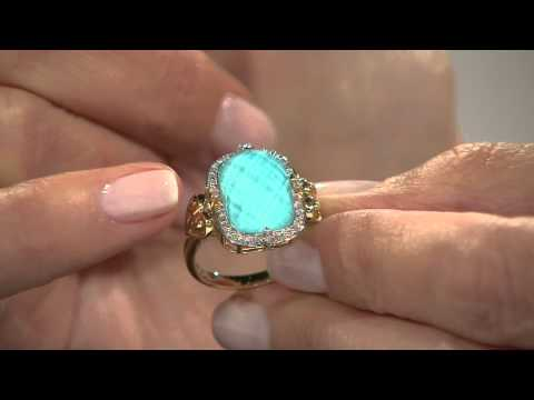 14K Gold Sleeping Beauty Turquoise Doublet and Diamond Ring with Mary Beth Roe