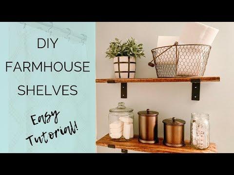 DIY FARMHOUSE SHELVES | EASY TUTORIAL | BATHROOM FARMHOUSE SHELVES