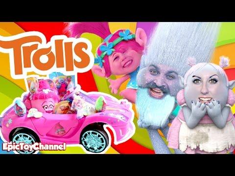 TROLLS MOVIE Giant Surprise With Trolls Power Wheels Style Kid Car & Trolls Chocolate Surprise Egg