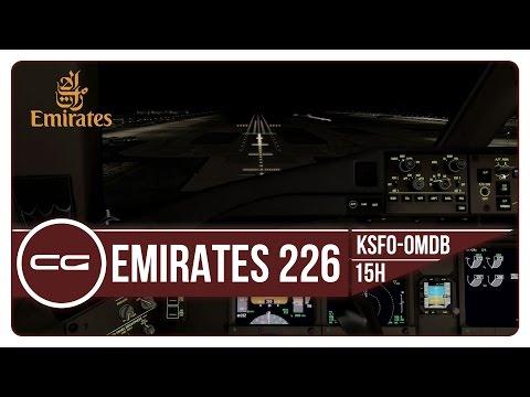 P3D v3.4 | KSFO (San Francisco) - OMDB (Dubai) | EK226 MAX TOGW!! | PMDG 777-300ER