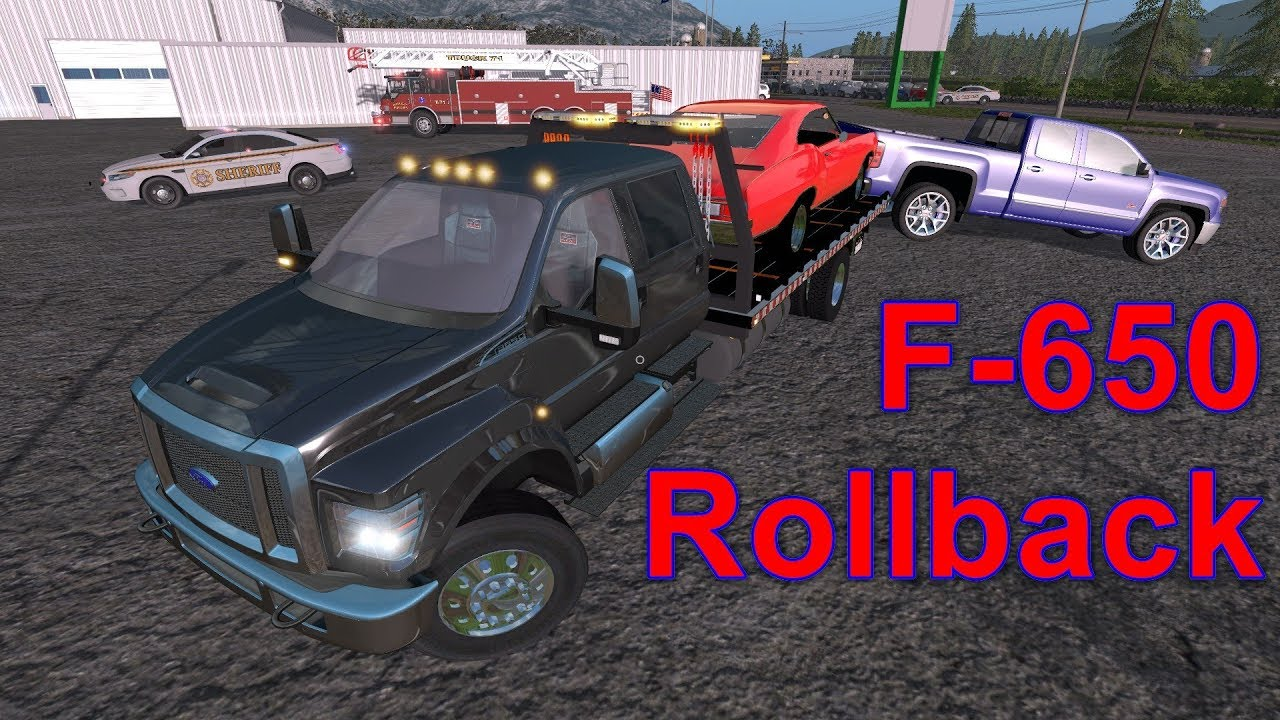 Truck Destroys Classic Car - Ford F-650 Rollback Accident Recovery Towing  Farming Simulator 17 #24