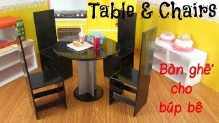 DIY How to Make a Doll Table & Chairs / Làm đồ cho búp bê: làm bàn ghế ăn nhà bếp / Ami DIY