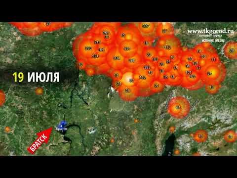 Карта пожаров с 16 по 26 июля.  Братск.  2019