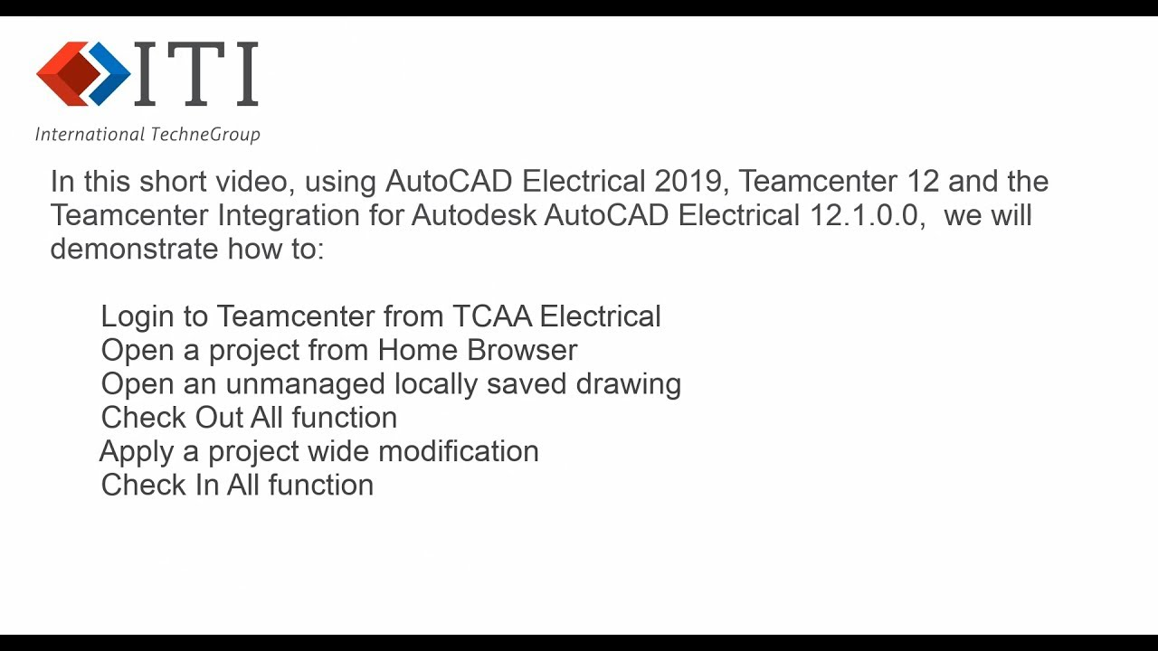 TCAAE - Teamcenter Integration for Autodesk AutoCAD Electrical, Basic  Concepts 2