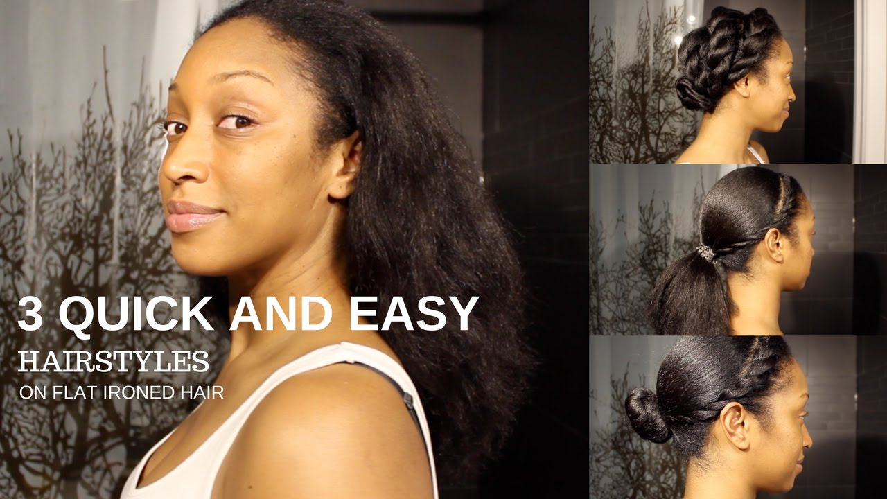 quick and easy everyday natural hair styles | (flat ironed natural hair)