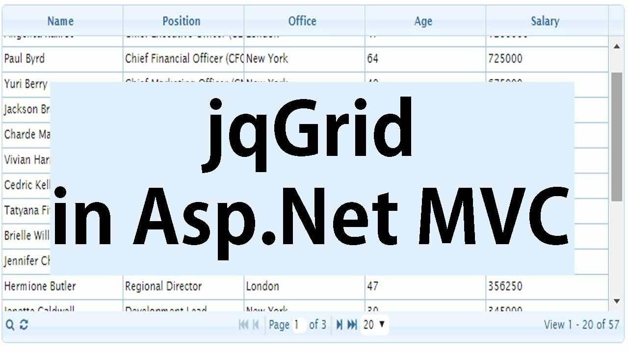 jqGrid In Asp Net MVC Using SQL Server Database