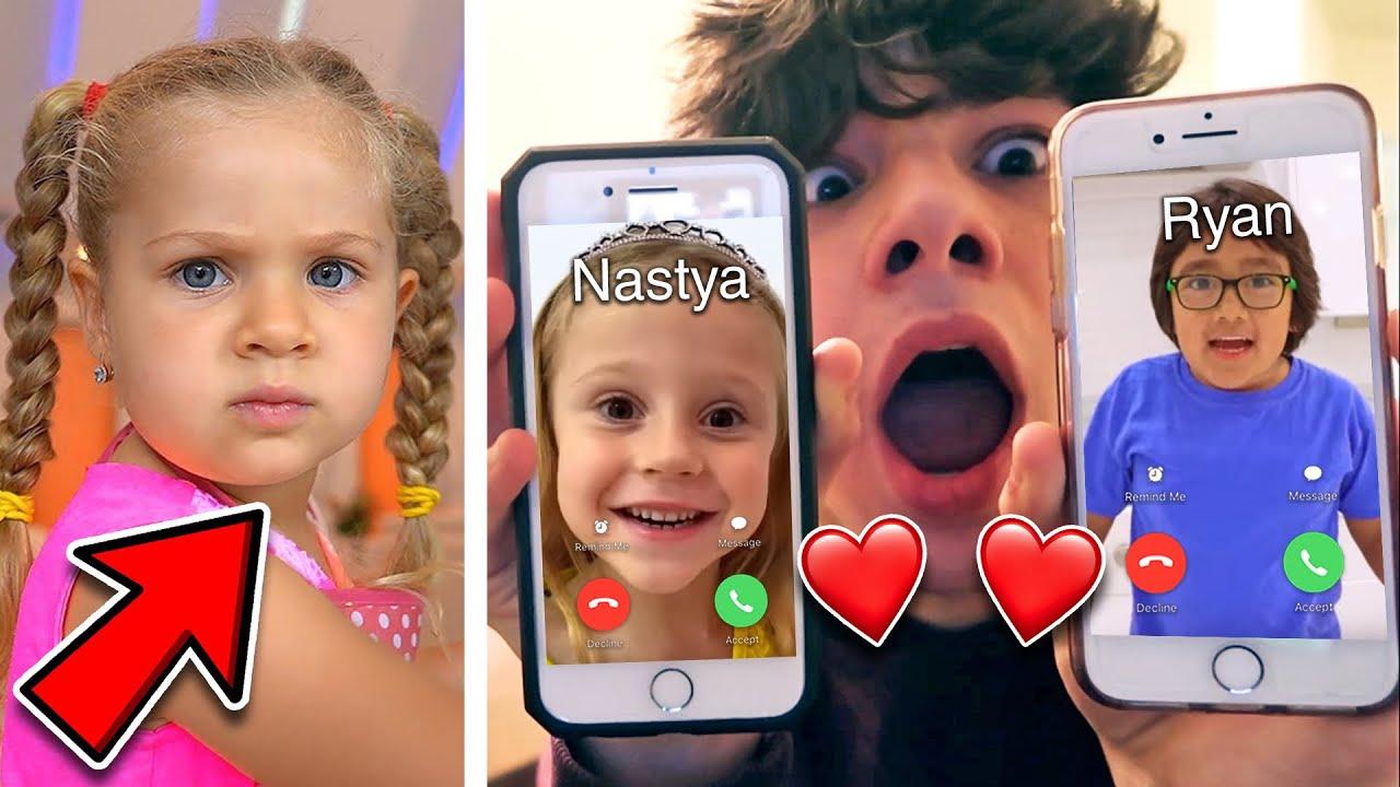 CALLING RYAN'S WORLD AND LIKE NASTYA!! *RYAN IS CHEATING ON KIDS DIANA SHOW*