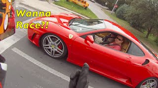 FERRARI PLAYS WITH MOTORCYCLE