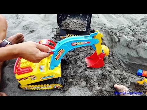 Mainan pasir pantai sama mama dan papa#Excavator dan Truck#Cari telur di pasir#youtuber cilik