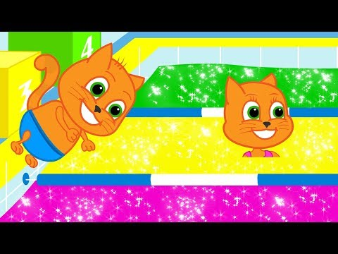 Cats Family - Cartoon for Kids | New Episode #45 | Colorful Water in Swimming Pool