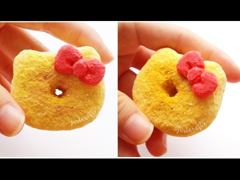 DIY Hello Kitty donut squishy using cosmetic sponges   homemade squishy tutorial (????) - YouTube