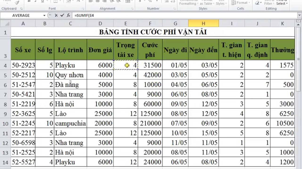 Giải đề 5 Excel  Bảng Tính Cước Phí Vận Tải