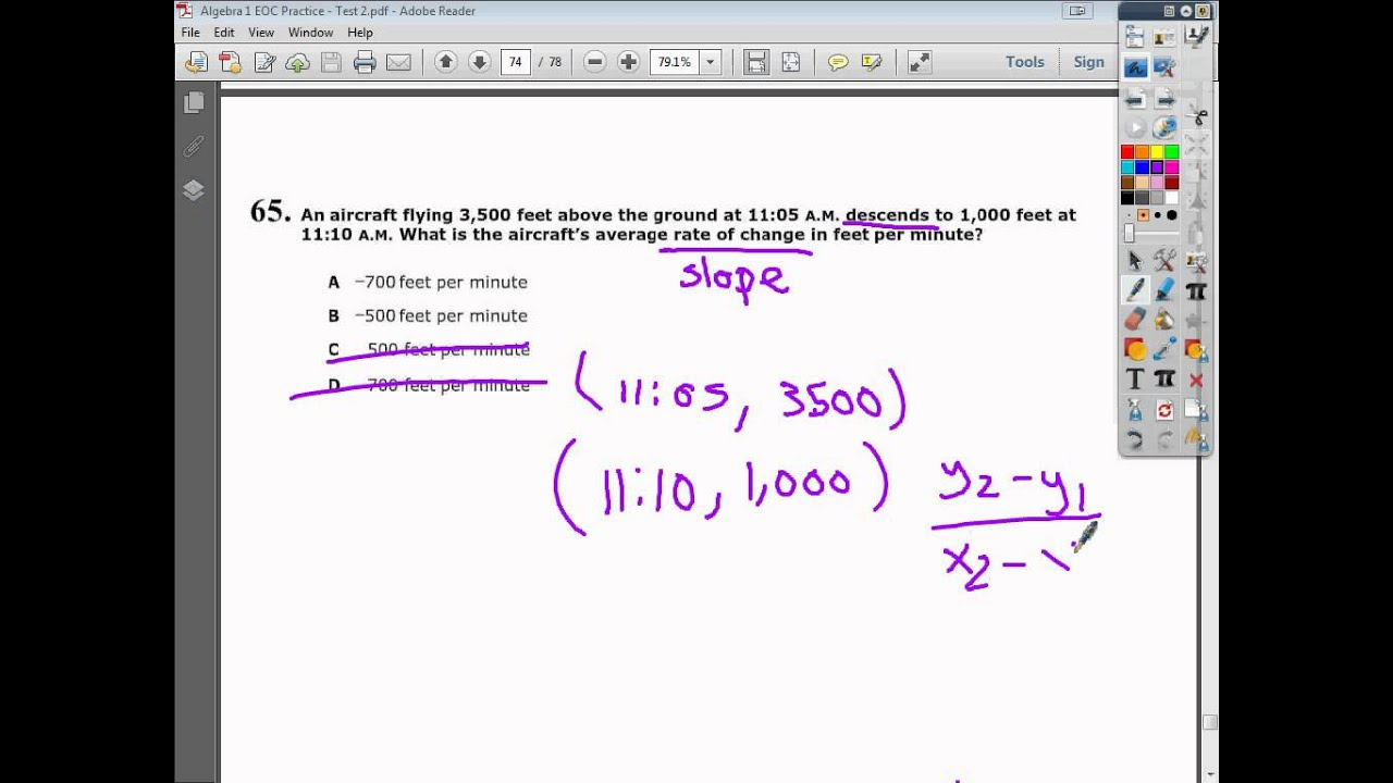 Question 65 - Practice Test 2 - Tennessee EOC Algebra 1 (2015 \