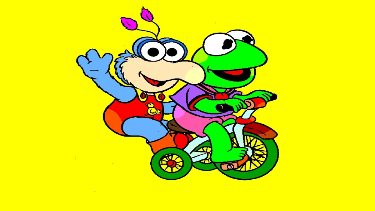 baby kermit and gonzo riding a bike coloring page youtube