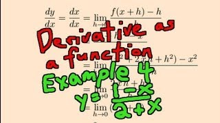 derivative as a function example 4 y 1 x 2 x