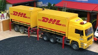 TOY Trucks video for kids | Bruder toys DHL container