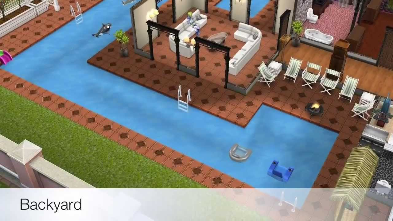 The sims freeplay two story mansion youtube for Case the sims 3 arredate