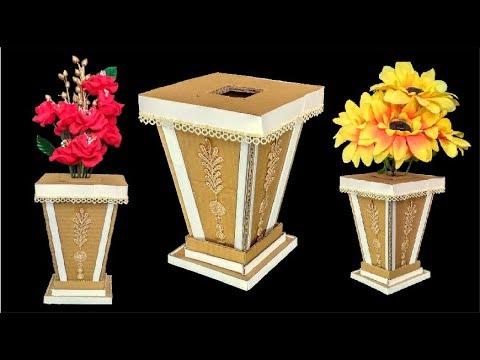 Diy Floor Vase Flower Vase Making With Cardboard Youtube