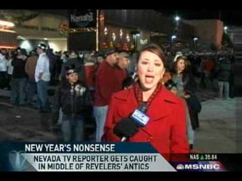 Reporter Heckled, Kissed, Mooned During New Year's Broadcast
