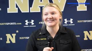 After winning match point for the Navy women's volleyball team soph...