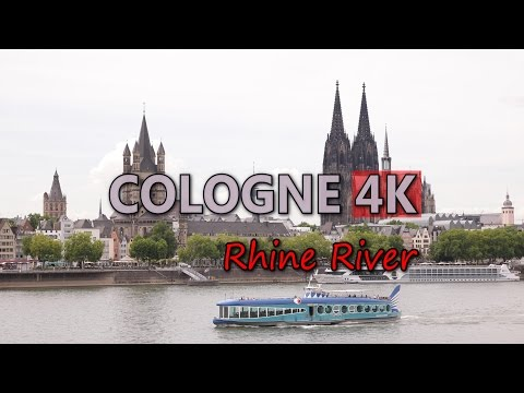 Ultra HD 4K Cologne Travel Rhine River Germany Tourism Transport Cargo Ship UHD Video Stock Footage
