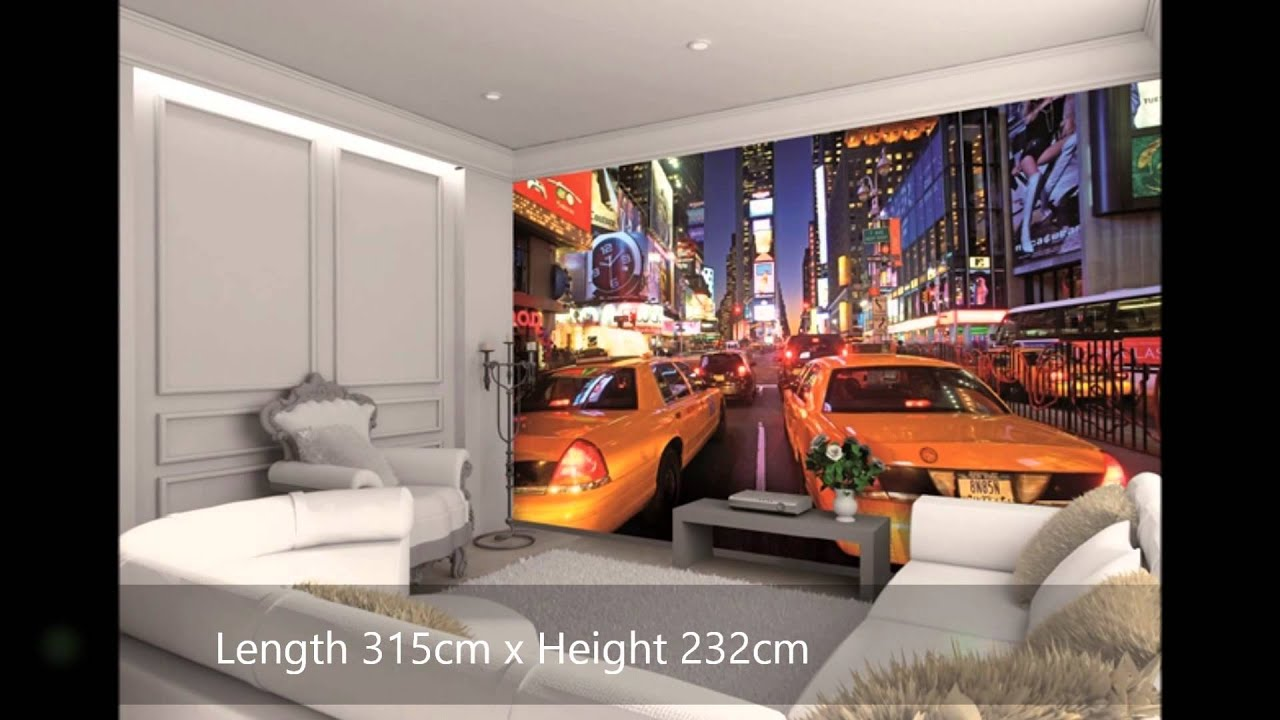 New York Bedroom Wallpaper New York City Scene Wall Mural Video Wesellwallmuralscom Youtube