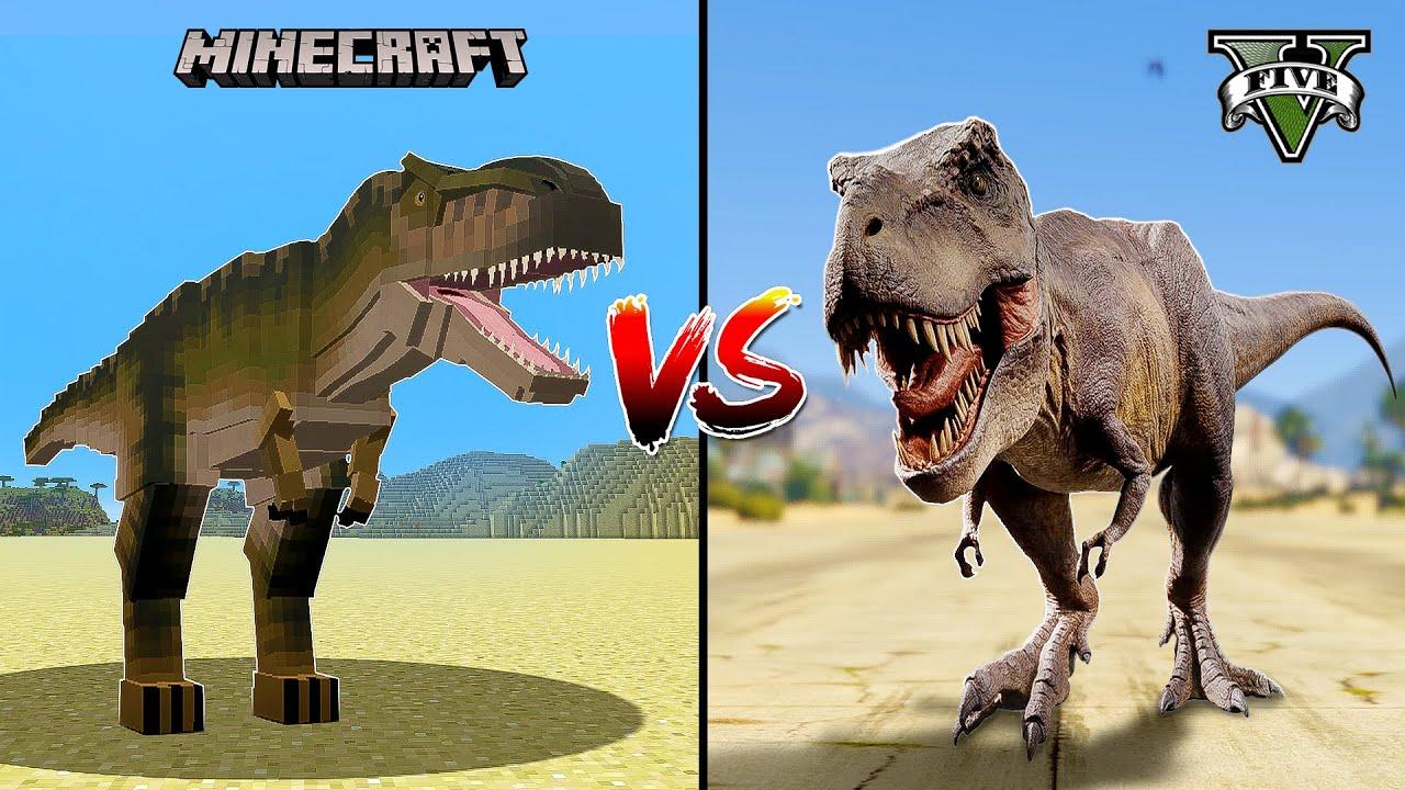 GTA 5 DINOSAUR T-Rex VS MINECRAFT DINOSAUR JurassiCraft - WHO IS BEST?