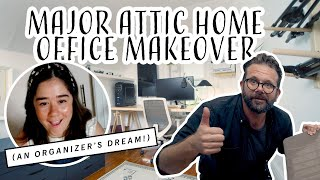 Cramped, Messy + Dark Attic Into Bright + Tidy Home Office Makeover