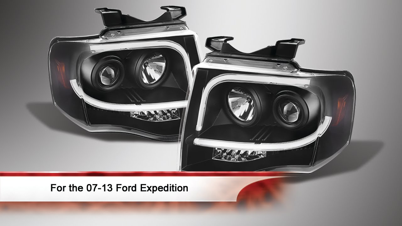 07 13 ford expedition light tube drl led indicator projector headlights youtube