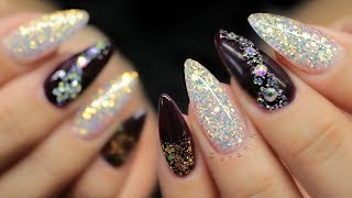 ✨HARD GEL   NEW YEARS NAILS! GLITTER & CRYSTALS✨