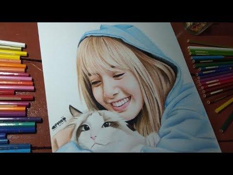 Menggambar Wajah LISA BLACKPINK - Menggambar Wajah Artis Korea | Speed Drawing