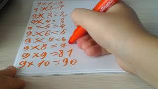 За 5 минут выучить таблицу умножения на 9