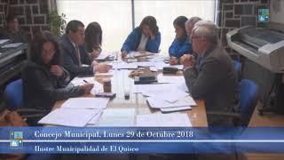 Concejo Municipal Lunes 29 de Octubre 2018 El Quisco