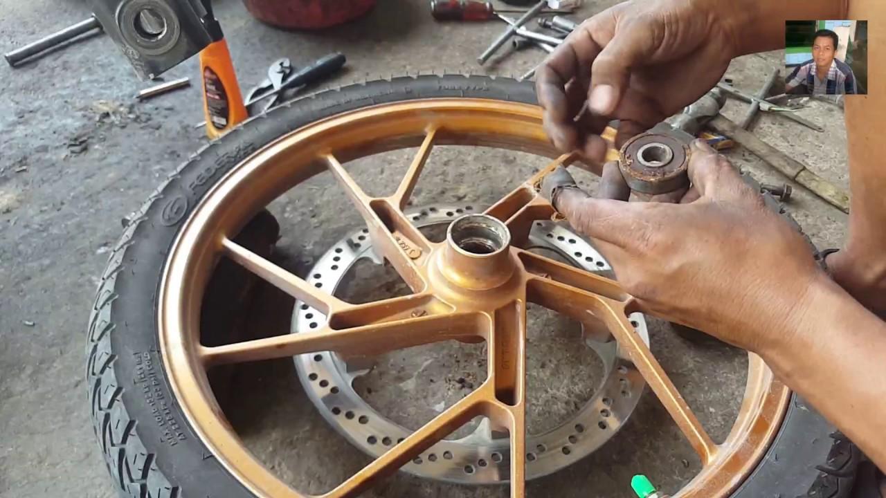 Cara Lengkap Mengganti Laher Bearing Roda Depan Cara Ganti Laher Depan Roda Satria Fu