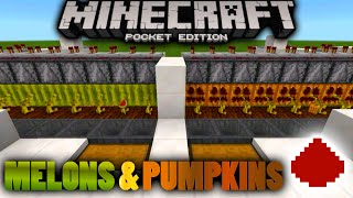 MCPE: Fully Automatic Melon Farm/Pumpkin Farm TUTORIAL  - MCPE Redstone creation