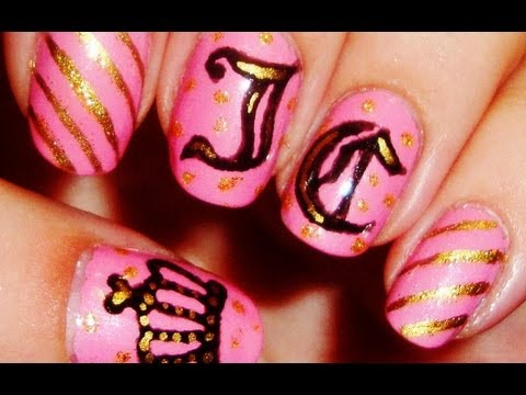 Designer Series Juicy Couture Inspired Nail Art Youtube
