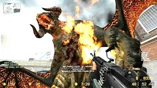 Counter Strike Source - Zombie Riot Mod Balrog Zombie Boss fight Online Gameplay on Cod4 Vacant map