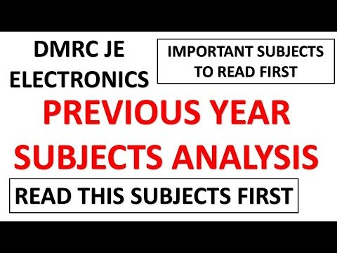 SUBJECT-WISE WEIGHTAGE OF ELECTRONICS FOR DMRC JE EXAM 2018