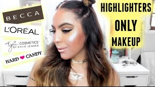 RETO Maquillaje SOLO ILUMINADORES|Highlighters Only Challenge ♥BeautybyNena