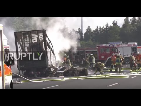 Germany: 31 injured, 17 missing after bus crashes in flames in Bavaria