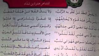 شعر العربي للصف الحادي عشر. (في الفخر) للشاعر عنترة بن شداد