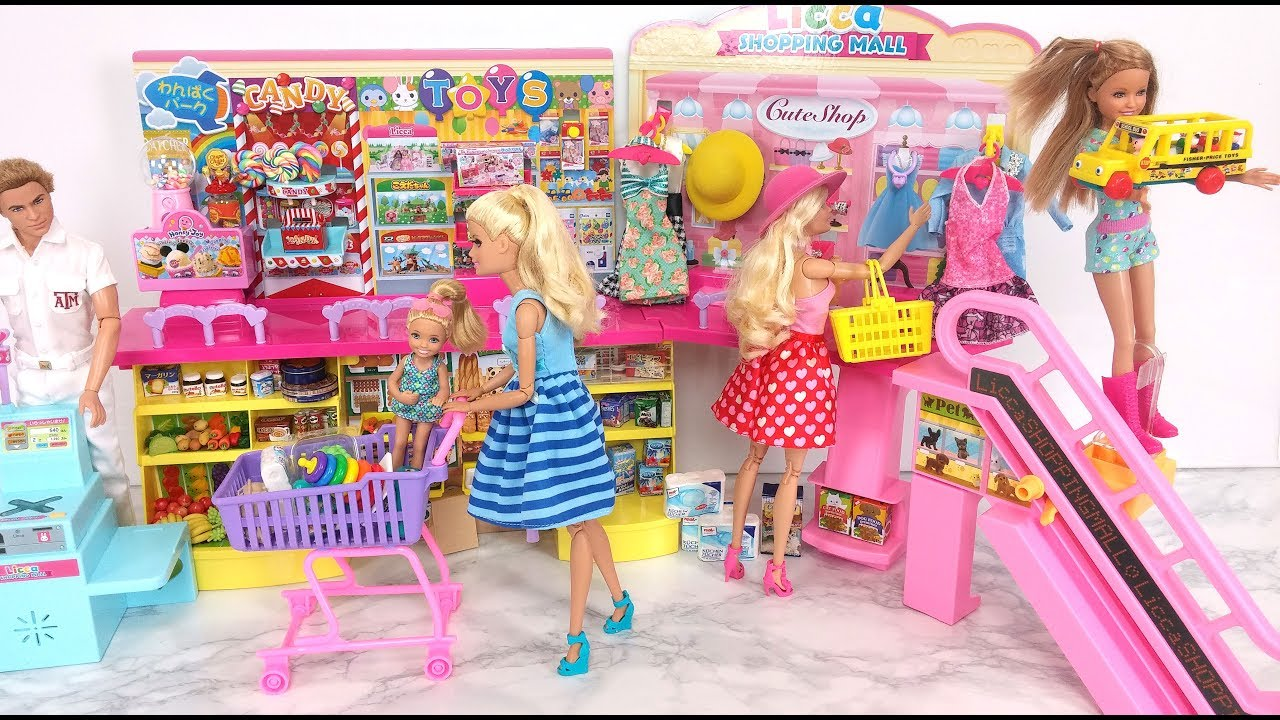 Barbie Shopping Mall Toy Candy Dress Hat Grocery Shopping